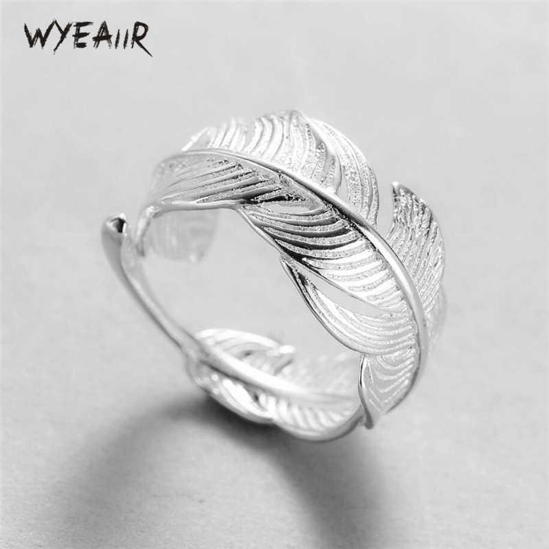 Wyeaiir 925 Sterling Zilveren Open Veer Verstelbare Shiny Leuke Vrouwelijke Resizable Opening Ringen