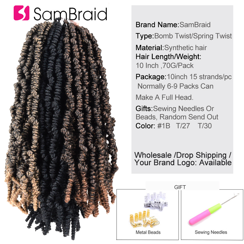 Sambraid Spring Bomb Twist Crochet Hair Natural Faux Locs Synthetic Hair Pack Crochet Braids Hair Extension passion twist