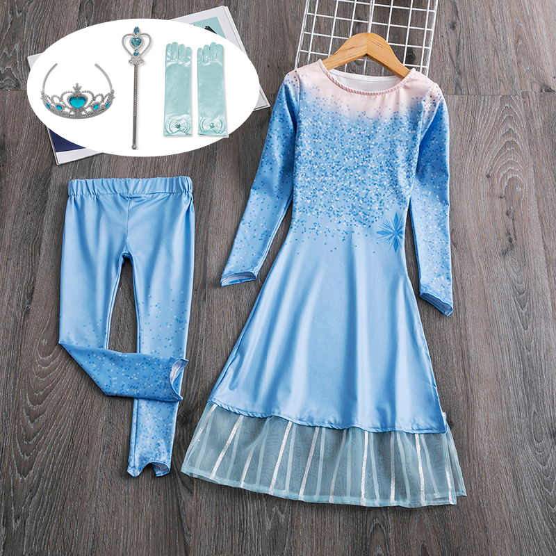 Girls Dress Elsa Dress Party Vestidos 2 Cosplay Girl Clothing Anna Snow Queen Print Birthday Princess Dress Elza Kids Costume