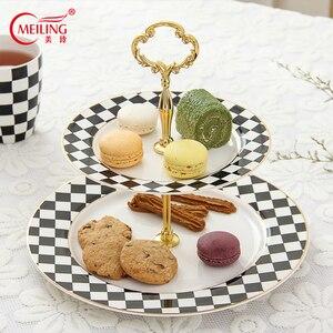 Soporte de platos para pasteles de 2 niveles, blanco y negro, plato de porcelana para aperitivos, soporte para fruta, plato de cocina de cerámica clásico para fiesta y boda