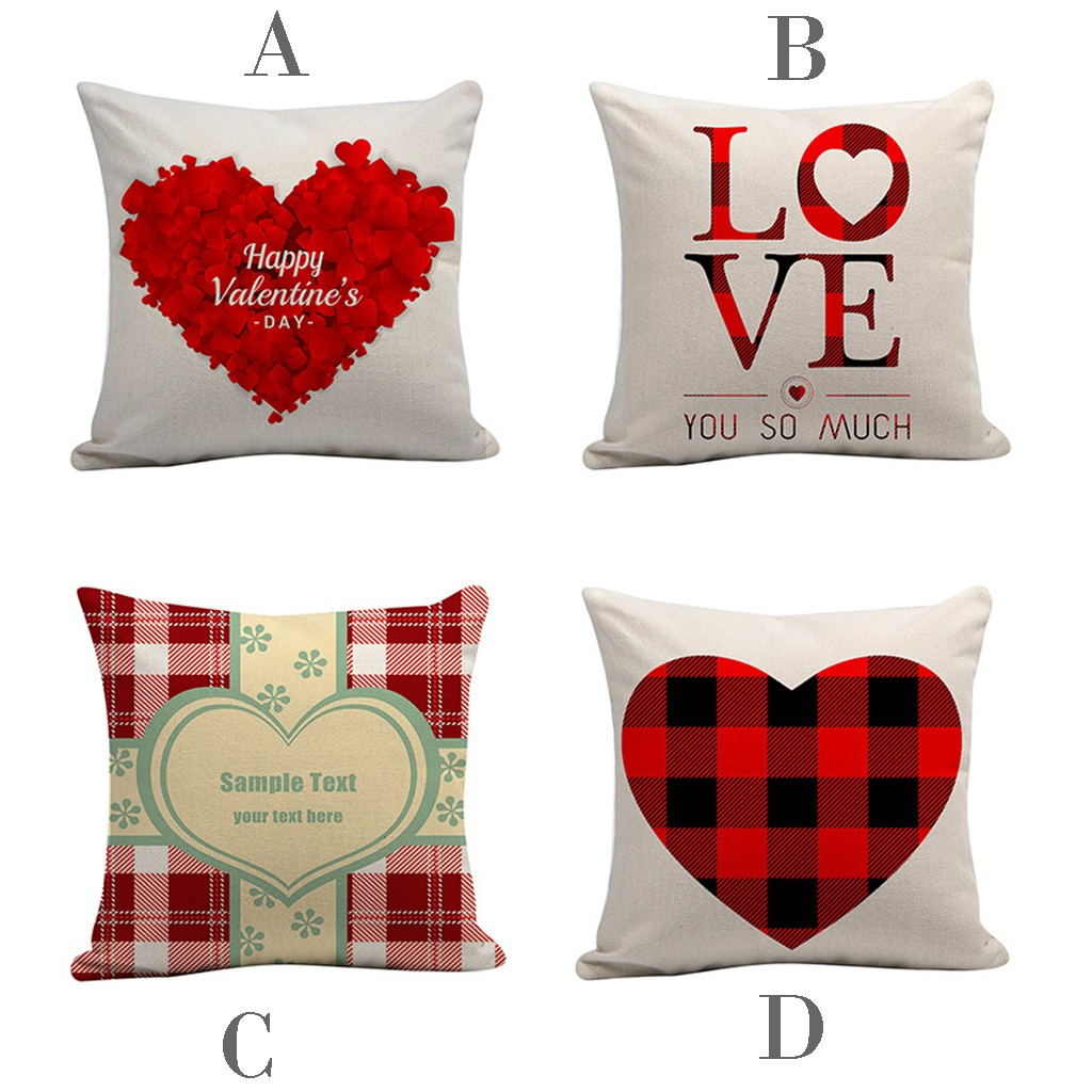 """Happy Valentine Day Throw Pillow Case Sweet Love Square Cushion Cover 18/""""x18"""