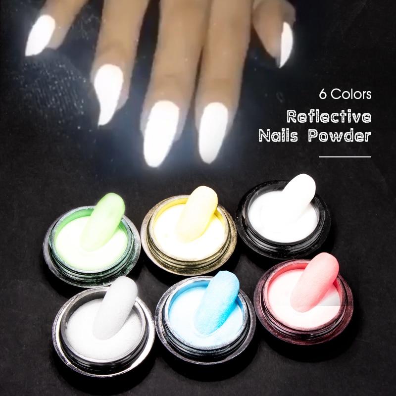 SAVILAND Reflected Nail Glitter Powder 6 Colors Shiny Glow Party Dipping Powder Reflective Nail Art Tools For Disco Dancing