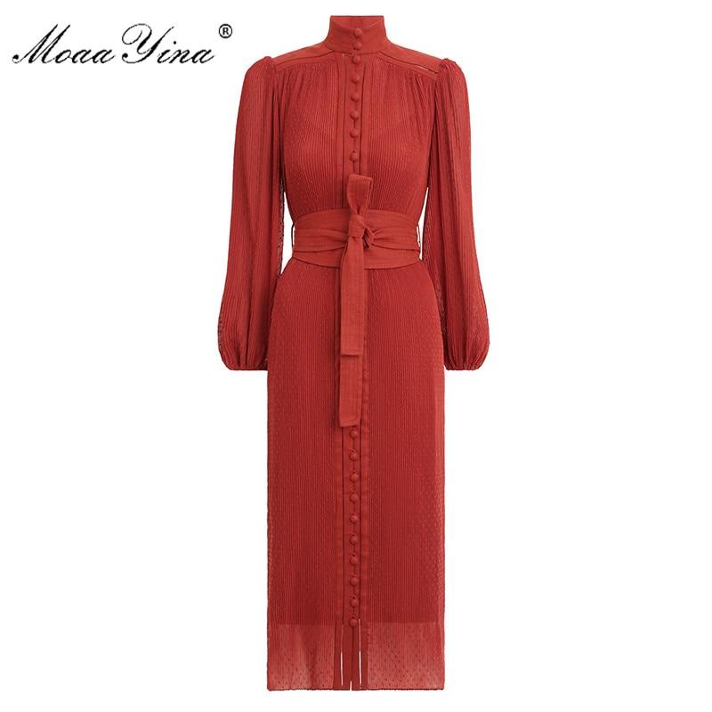 MoaaYina Fashion Designer Dress Spring Women's Dress Stand Collar Lantern Sleeve Single-breasted Vintage Elegant Runway Dresses