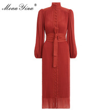 MoaaYina Fashion Designer dress Spring Womens Dress Stand Collar Lantern sleeve Single breasted Vintage Elegant Runway Dresses