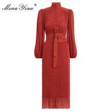 MoaaYina Mode Designer kleid Frühling frauen Kleid Stehkragen Laterne hülse einreiher Vintage Elegante Runway Kleider