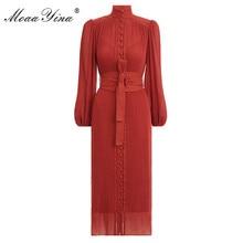 MoaaYina robe chic pour femmes, col montant, manches lanternes, simple boutonnage, Vintage élégante, robe printemps printemps
