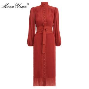 Image 1 - MoaaYina robe chic pour femmes, col montant, manches lanternes, simple boutonnage, Vintage élégante, robe printemps printemps