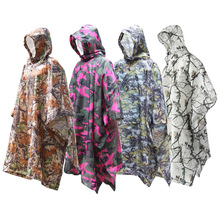 Camouflage Raincoat Backpack Rain Cover Coat Hood Hiking Cycling Poncho Waterproof Tent Outdoor Camping Mat