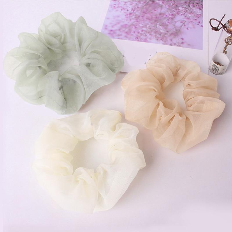 New Organza/Chiffon Solid Color Hair Scrunchies Women Elastic Hair Bands Headwear Ponytail Holder Chiffon Hair Ties Accessories