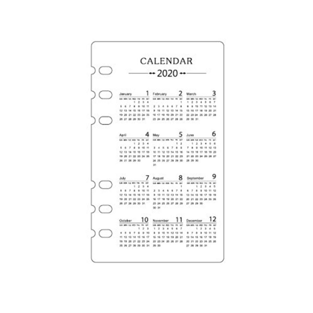 Classic 2020 Year Calendar Index Divider For Spiral Hole 6 Hand Loose Book Partition Planner Calendar Binder Standard Leaf D5N2
