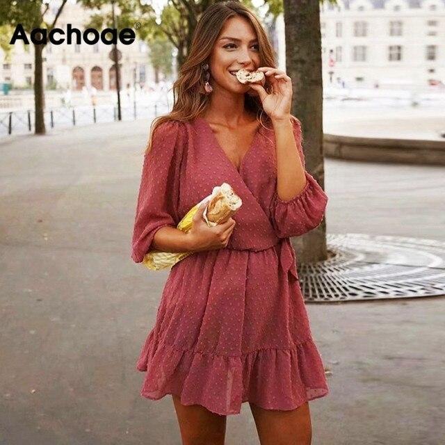 2020 Summer Women Ruffles Lace Chiffon Dress 1