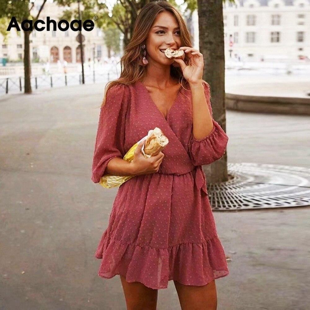 Aachoae 2020 Summer Women Ruffles Lace Chiffon Dress Boho Mini Beach Dress Three Quarter Sleeve Ladies Party Dresses Vestido(China)