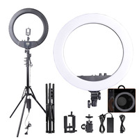 FOSOTO RL 18BII Photographic light Camera Phone Led Ring Light Bi Color 3200 5600K Makeup Ring Lamp with Tripod and Battery Slot