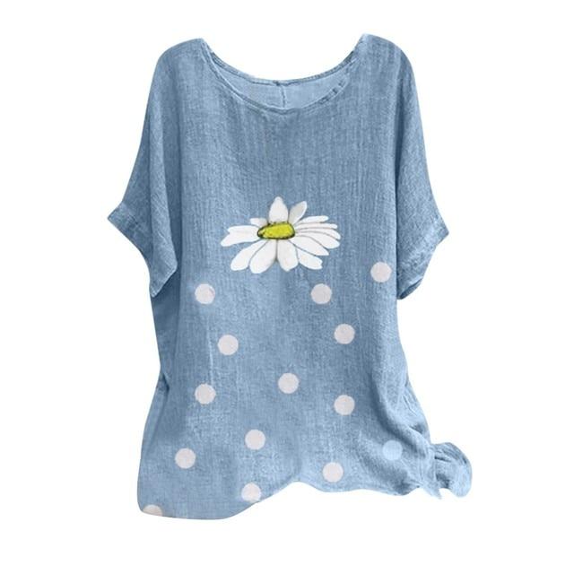 Fashion Women Blouses Casual Floral Point Print O-neck Short Sleeve Shirts Blouse Women Summer Top Blusas Kobiety Bluzki @47 5