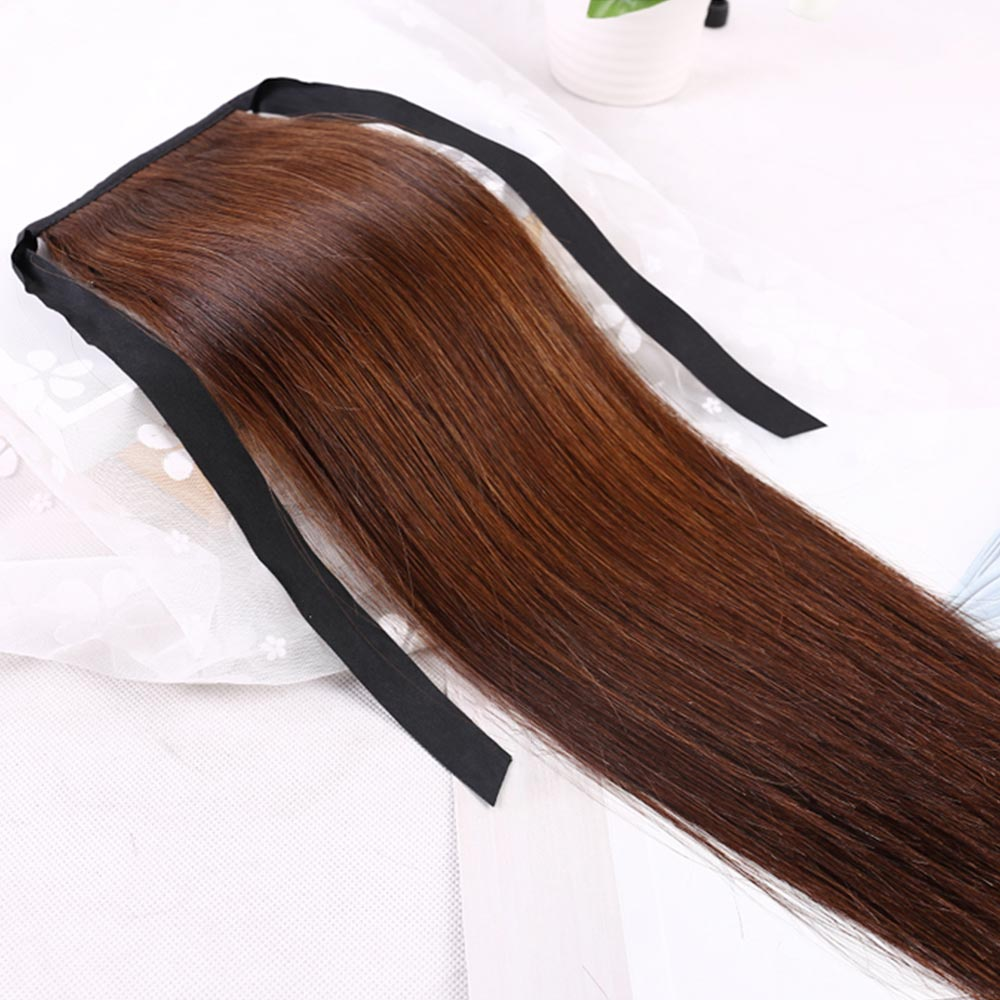 Brazilian Human Hair Ponytail European Straight Hair Extensions 100gram Wrap Around Clip In Pony Tail Remy Hair 16-28 Inches