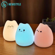 Colorful Cat Silicone LED Night Light Touch Sensor light 2 Modes Children Cute Night Lamp Bedroom Light