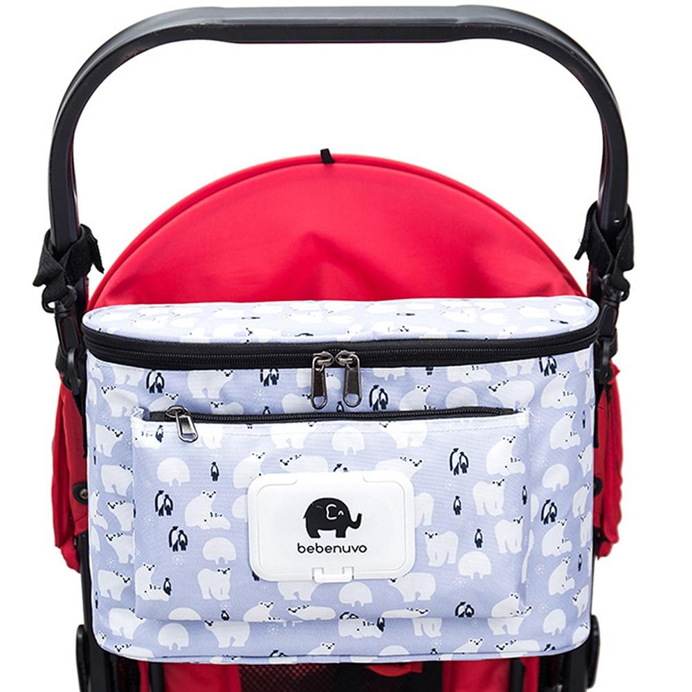 Сумка из узорчатой ткани мультфильм Детские коляски сумка органайзер мешок пеленки сумки для подгузников коляски для коляски тележка крючок для корзин Аксессуары для колясок 1