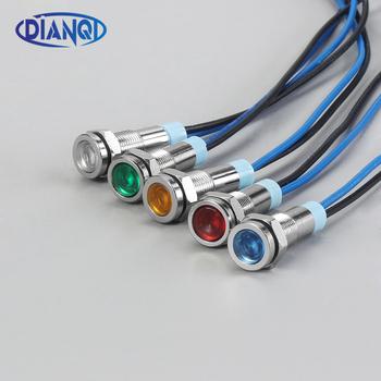 1PC 6mm metalowy wskaźnik LED light 6mm wodoodporna lampka sygnalizacyjna 6V 12V 24V 220v z drutu czerwony żółty niebieski zielony biały 6ZSD X tanie i dobre opinie DIANQI CN (pochodzenie) Przełączniki Indicator Lights piece