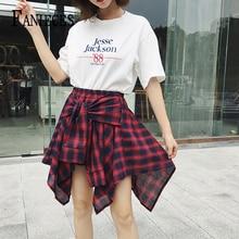202 Spring Womens Plaid Skirts Vintage High Waist Bow Belt Skirt Lace Up New Boho Summer lady Streetwear Asymmetrical Faldas