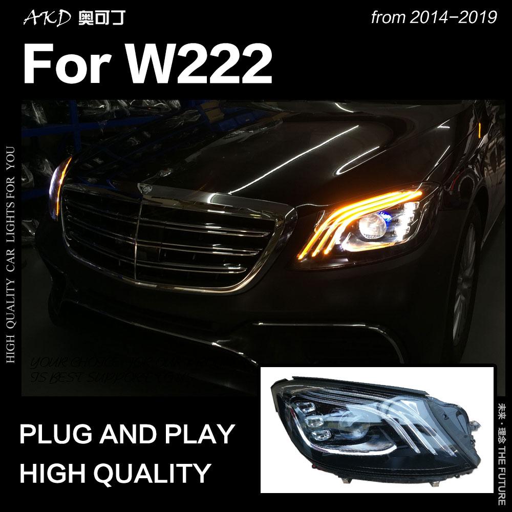 AKD سيارة التصميم رئيس مصباح ل بنز W222 المصابيح الأمامية 2014-2019 S350 S400 W223 LED العلوي DRL Hid ثنائية زينون اكسسوارات السيارات