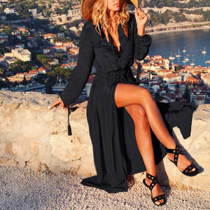 Image 3 - Vestido longo sexy de praia feminino, preto, túnica de praia, robe, cobertura de praia, maiô, saída pareos
