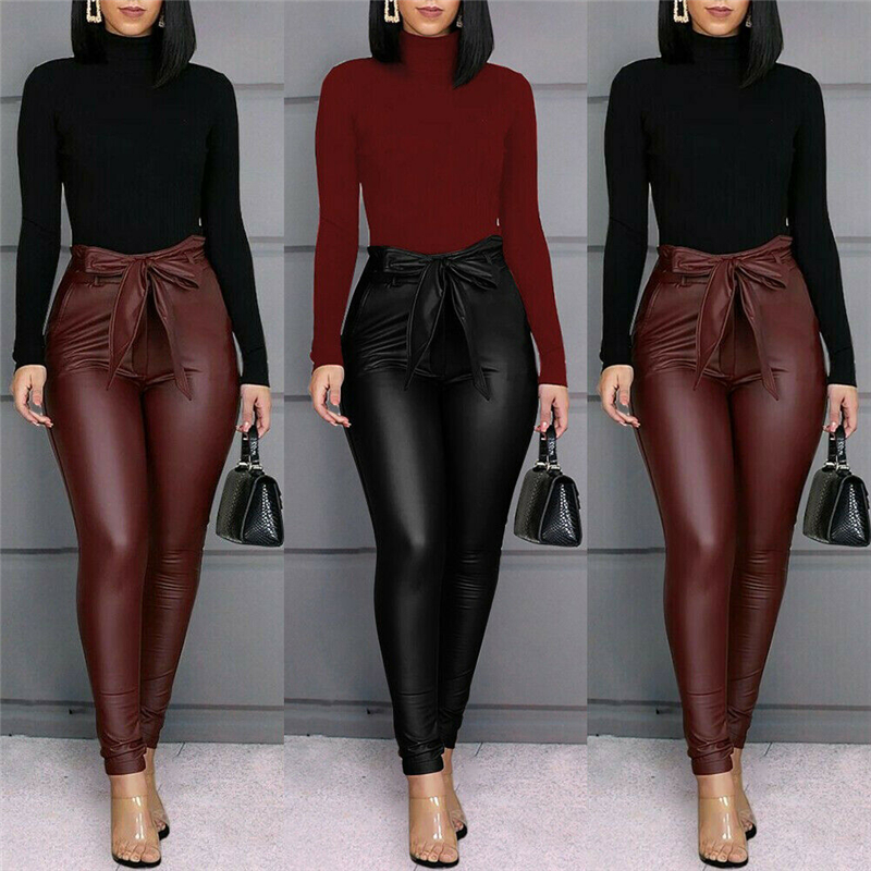 Fashion Women Faux Leather Sexy Thin Black PU Leggings Calzas Mujer Stretchy Casual Pencil Pants Elastic Legging Trousers