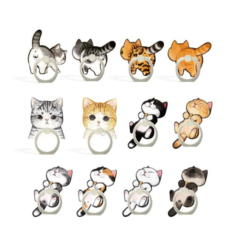 Animal Cute Cat Kitty Phone Finger Ring Mobile Phone Stand Holder For IPhone Xiaomi Huawei Acrylic Phone Holder All Smartphone