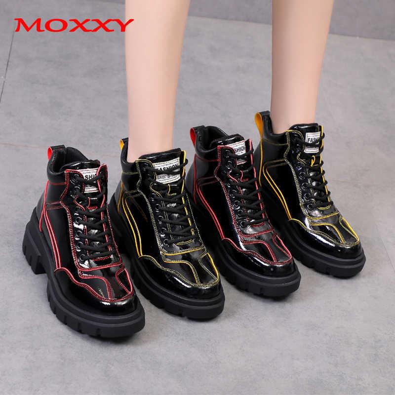 2019 yeni tasarımcı ayak bileği çizmeler kadın ayakkabıları deri tıknaz Sneakers kadın moda rahat ayakkabılar kadın kırmızı sarı Platform botları