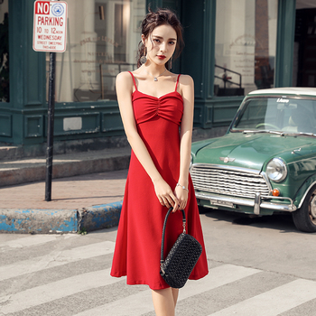 Spaghetti Strap moda Vestido rojo Sexy mujer sin mangas Saia Zipper Vestido...