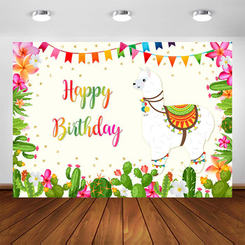 Alpaca Cactus Birthday Party Decorations Backdrop Mexican Themed Llama Party Photo Booth Background for Photography фото