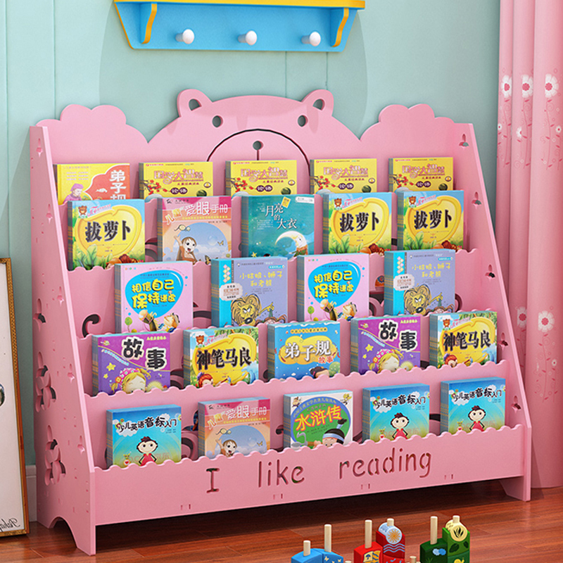 Children's Bookshelf Landing Book Simple Cartoon Bookcase Storage Kindergarten Newspaper Rack Multi-layer Picture Book Rack