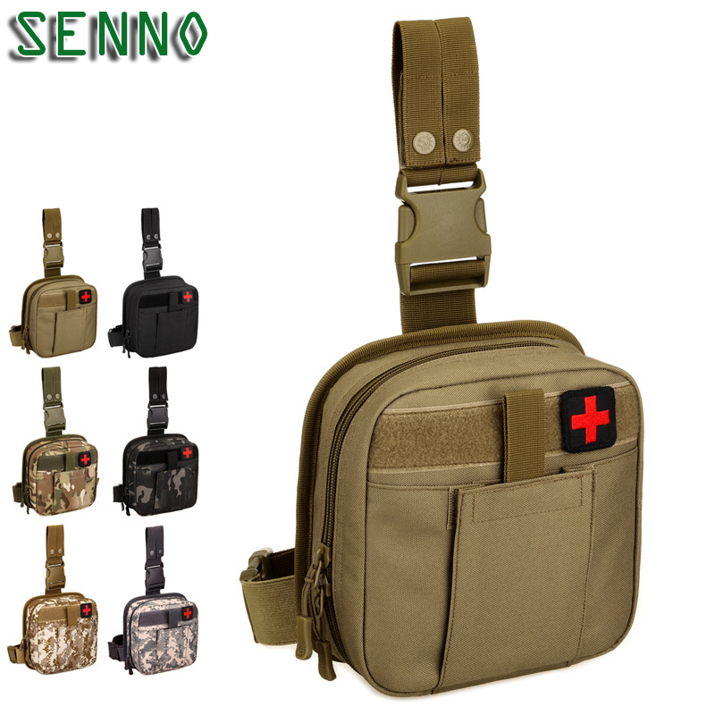 Khaki Nylon Hip Bum Accessory First Aid Kits Waist Molle Sundries Military Tactics Fanny Leg Bag For Climbing