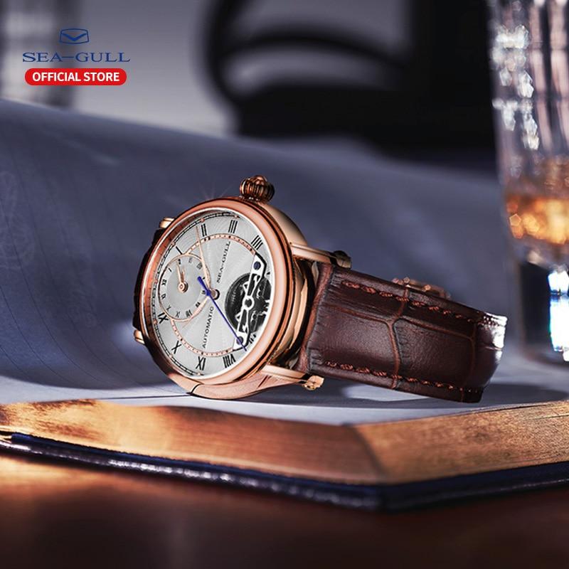 Image 4 - SEA GULL Business Watches Mens Mechanical Wristwatches Week Calendar 50m Waterproof Leather Valentine Male Watches 819.11.6041Mechanical Watches   -