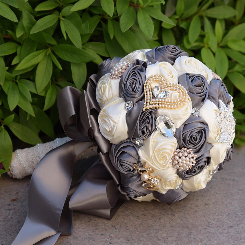 Burgundy Brooch Bouquet Ivory Bride Bouquets de mariage Artificial Crystal Wedding Flowers buque de noiva