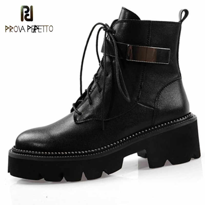 Prova Perfetto 2020 Genuine Leather Boots Women Shoes Motorcycle Ankle Boots For Women Platform Autumn Winter Boots Rain Boots