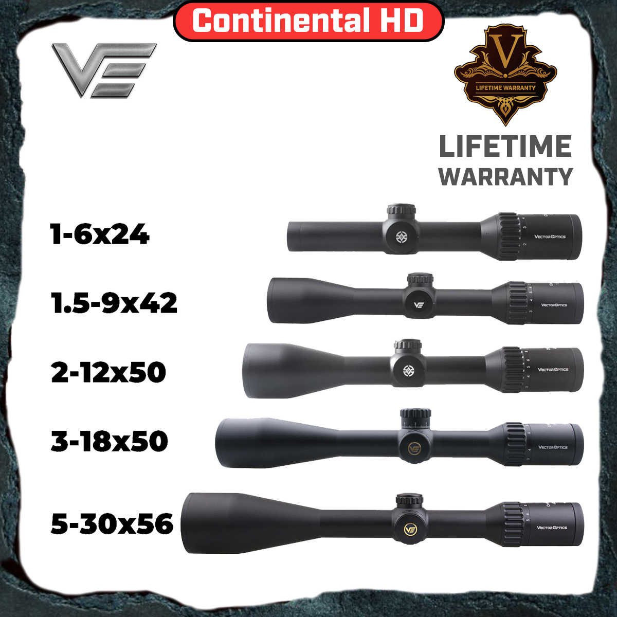 Óptica do vetor continental hd riflescope superior alemão sys rifle scope para caça tática 1-6x24 2-12x50 1.5-9x42 3-18x50 5-30x56