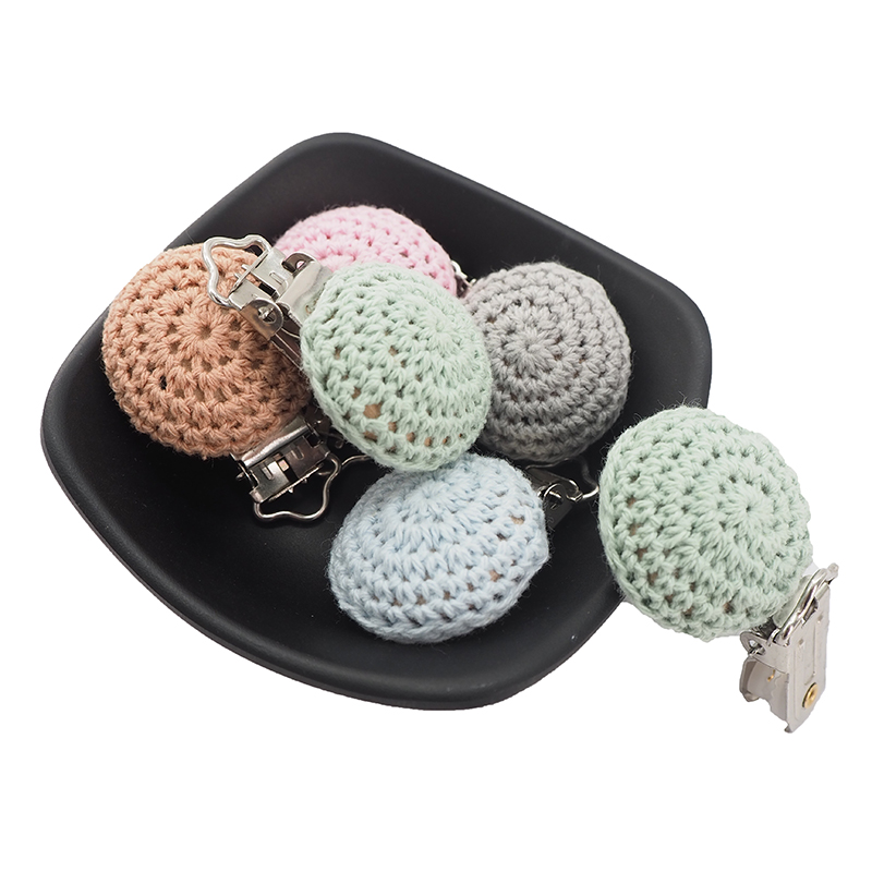 Chenkai 5PCS Baby Crochet Pacifier Metal Wooden Dummy Clips Teether Food Grade For DIY Baby Chewing Jewelry Chain Accessories