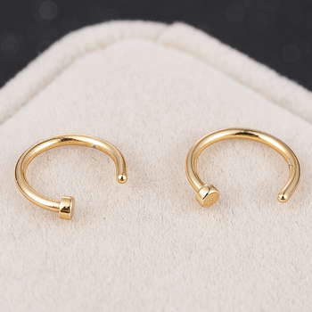 2020 NEW 2pcs Hot Stainless Steel Nose Open Hoop Ring Earring Body Piercing Jewelry 4Color Black Gold Nose Rings nose stud 3