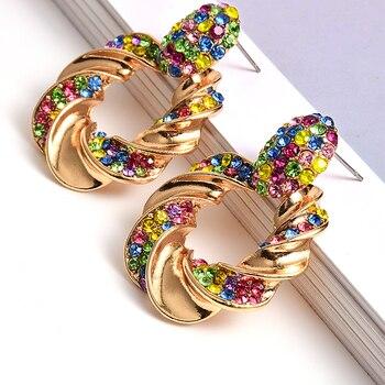 Gold Metal Rhinestone Crystal Drop Earrings  5