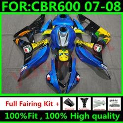 Motorcycle Injection Mold Fairing Fit For Honda CBR600RR CBR 600RR F5 2007 2008 CBR 600 RR CBR600 07 08 Fairings blue shark
