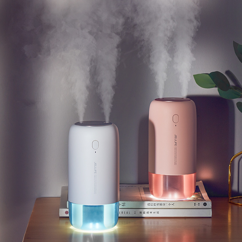 500ML 2 Mist Outlet Air Humidifier 3600mAh Battery Rechargeable Ultrasonic Aroma Diffuser Aromatherapy Humidificador for Home