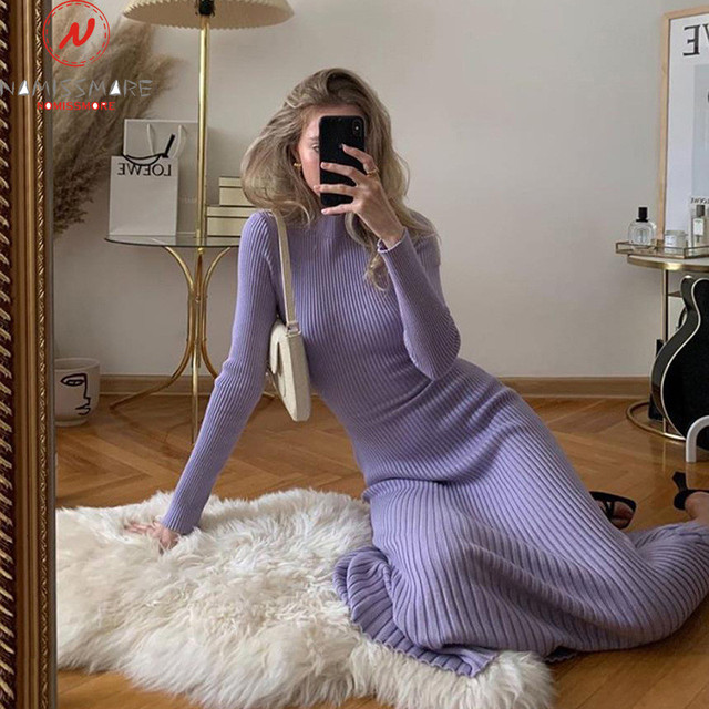 Sexy Women Solid Color Pencil Dress Hollow Out Bandage Design High Collar Long Sleeve Mid Waist Backless Slim Hips Long Dress 5