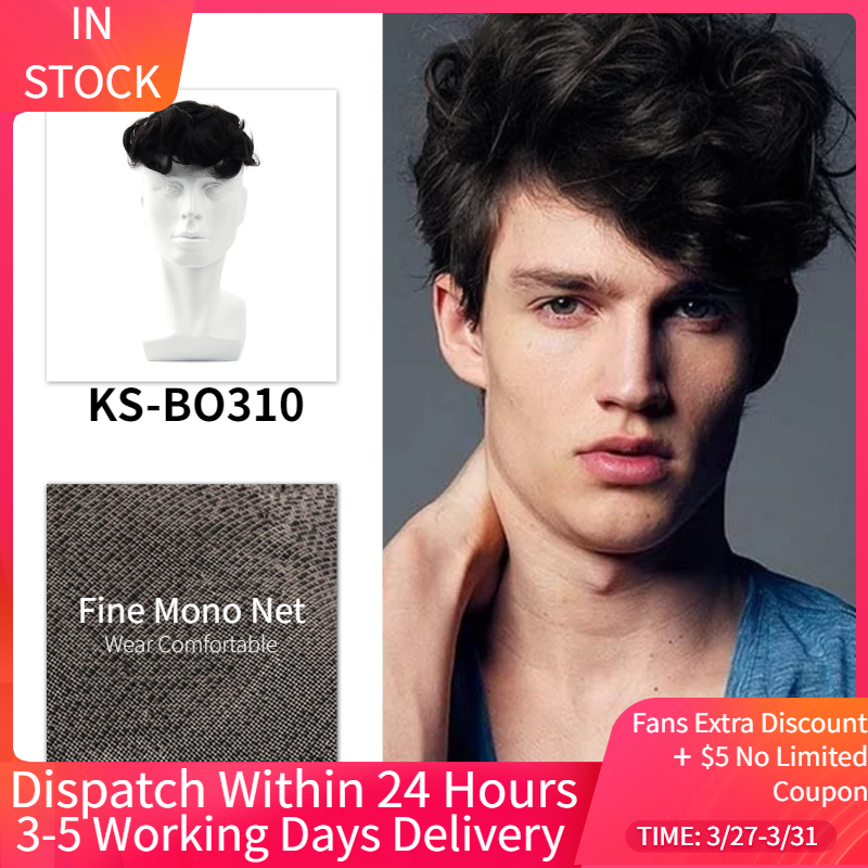 MW Toupee Mens Wigs Human Hair System PU + Fine Mono Net Durable 100% Handtied 6 Inches 150% Density Remy Hair Wig Toupees