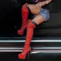 LAIGZEM Women Over Knee Boots Wide Calf Friendly Lace Up Stiletto Heels Platform Boots Winter Shoes Botine Large Size 50 51 52