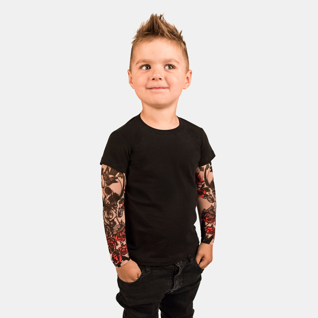 Boys O-Neck T-Shirt with Mesh Tattoo Printed Long Sleeve Tees Comfort Kids Tops
