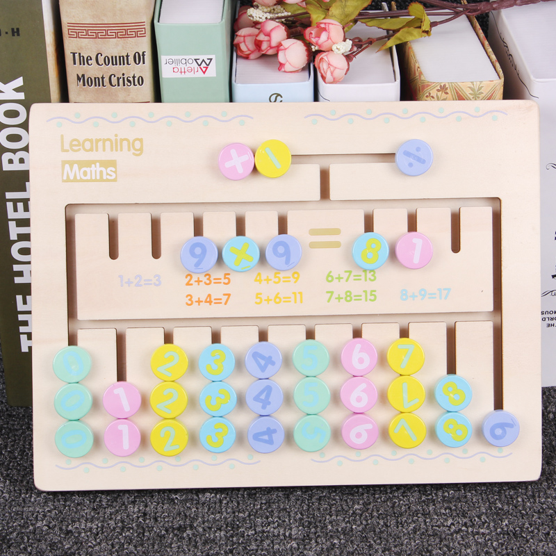 Children Wooden Math Toys Montessori Materials Learning To Count Numbers Matching Digital match Early Education Teaching