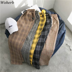 Woherb Plaid Pants Joggers Trousers Korean Stretch Harajuku High-Waist Plus-Size Casual