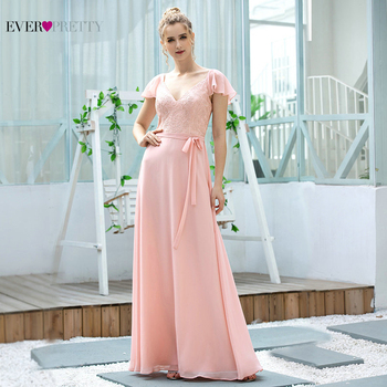 Elegant Pink Bridesmaid Dresses Ever Pretty A Line V Neck Cap Sleeve Embroidery Long Dress For Wedding Party With Belt EP00656PK pink bridesmaid dresses plus size ever pretty elegant a line v neck short sleeve chiffon long wedding party dress women vestidos