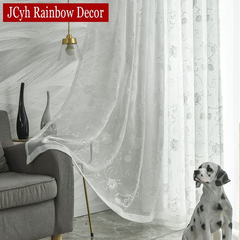 Embroidered Floral Tulle Curtains For Living Room White Sheer Curtains Voile Curtains For Bedroom Tulle On The Window Drapes