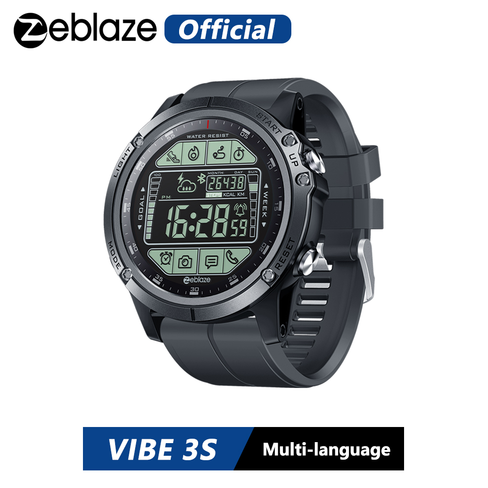 Zeblaze VIBE 3S Rugged Outdoor Smartwatch Real-time Weather Steps Calorie Distance Tracking 5 ATM 50M 164ft Water Resistant